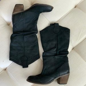 Aldo Black Leather Slouchy Boots Size 9